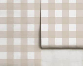 Small Buffalo Check (4 inch)  // Bisque Removable Peel 'n Stick Wallpaper