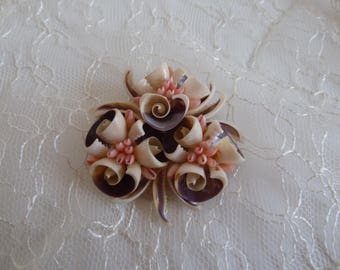 Seashell Brooch in Pink & Purple/1950s handmade sea shell pin/curley shells simulate flowers/handmade Florida Hawaii pin/Mother's Day/Easter