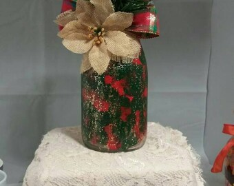 "Vase, Red and Green with Burlap flower, 7"", :O n e decor, table decor, mantel decor"
