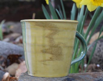 Two Clays Cup - Sunny Yellow and Palest Blue Green - Latte Cup - Mug - Marbled Wheel Thrown Pottery