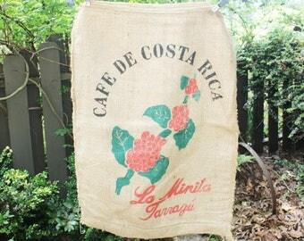Vintage Burlap Coffee Bag, Cafe De Costa Rica, La Minita Tarrazu, Heavy Coffee bag,