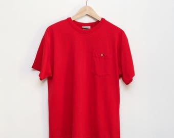 80s / 90s vintage red pocket ringer tee Red Cotton T-Shirt