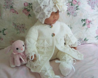 White baby sweater knit baby scalloped edge Sweater ruffled flower hat booties set Layette flower buttons 0-12M Ready to Ship