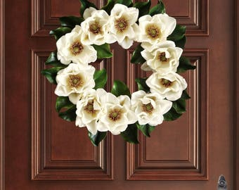 Magnolia Wreath   Front Door Wreaths   Magnolia Leaves   Farmhouse Wreath Decor   Spring Wreath   Magnolia Decor   Magnolia Blossom