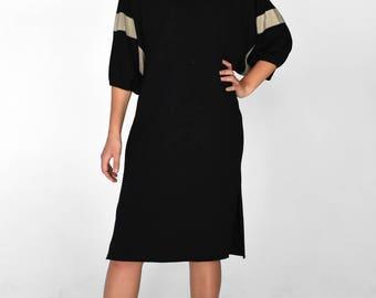 Vintage 1970s Black Tunic Dress Knit Wool Warm Winter Silk Trim Striped Batwing 3/4 Sleeve Slit Midi - Medium