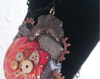 Steampunk inspired heart necklace