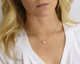 REAL Pearl Necklace - Solitaire Pearl Dainty Necklace - Small Pearl Necklace - Layering Necklace