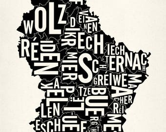 "LUXEMBOURG and its 12 Cantons — 18x26"" Map Poster — Screen Print"