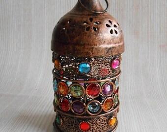 ON SALE Vintage Rustic Lantern, Moroccan Lantern,Candle Holder