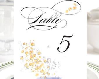 Tangled Inspired Lanterns, Fairytale Wedding, Disney Table Numbers (1-10)