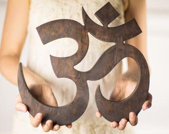 OM Symbol Large wooden, Namaste decor, yoga gifts, wooden letters, spiritual home decor, wood Aum symbol, Yoga home decor, Yoga studio decor
