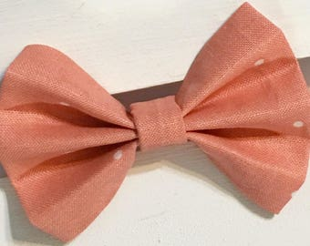 Peach and white polka dotted hair bow, Fabric hair bow, nylon headband, clip in hair bow, fabric bow, clip in hair bows