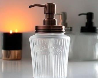 Frosted Glass Vintage Kilner Mason Jar Soap Dispenser with Copper, Black or Stainless Steel Pump
