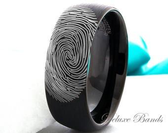 Fingerprint Ring Tungsten Wedding Band Mens Womens Promise Ring Custom Made Fingerprint Ring Anniversay Ring Black Dome 8mm Personalized