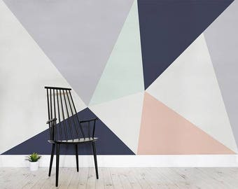 Large triangles wallpaper, geometric, self adhesive, temporary, removable nursery mb107