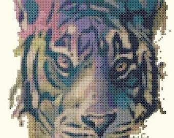 Tiger Cross Stitch Pattern Pdf watercolor pattern watercolor cross stitch - 103 x 189 stitches - INSTANT Download - B1489