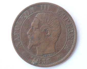 Rare old French currency- 5 centimes 1855- Napoleon III- Coin - Collection