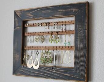 Wall Mount Jewelry Organizer | Hanging Earring Organizer | Jewelry Holder Frame | Hanging Earring Organizer | Hanging Jewelry Display