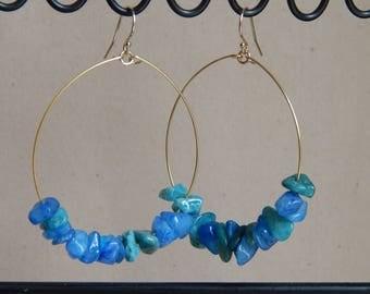 Hoop earrings with blue quartz, beach boho, summer jewelry, festival chic, trendy jewelry, bohemian style, gold hoop earrings