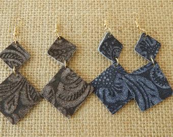 Suede embossed earrings, beach boho earrings, organic jewelry, summer fashion, southwest, festival chic, navy blue suede, brown earrings