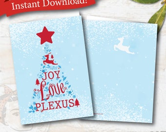 Plexus Christmas Card - plexus holiday note card, Instant digital file