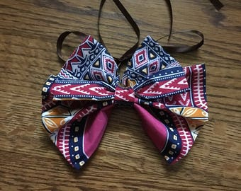 Pink Dashiki Print Butterfly Bowtie  (Necklace, Choker, Collar, Tie, Bow Tie, Accessories, African Print)