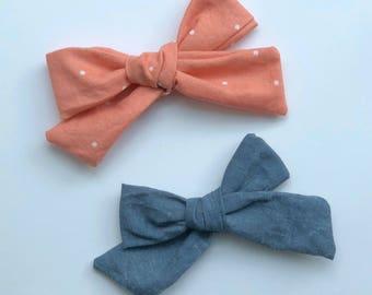 SET of 2, Schoolgirl Bows, baby, infant, toddler, girl, headband, nylon, alligator clip