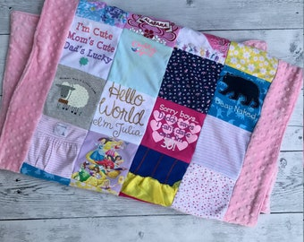 Baby Onesie Quilt With Minky Boarder and Backing
