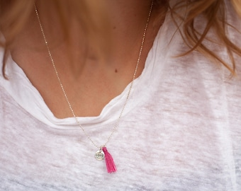 Sterling Silver Tassel Necklace, Necklace with Tassel and Love Charm, Silver Charm Necklace, Tassel Jewelry, Charm Necklace