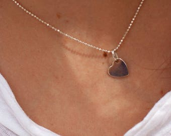 Fine sterling silver with heart - Silver Heart Necklace - love necklace pendant necklace