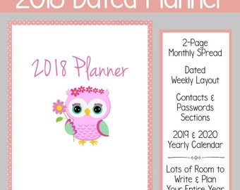 2018 Dated Weekly Planner: Pink - Instant Download