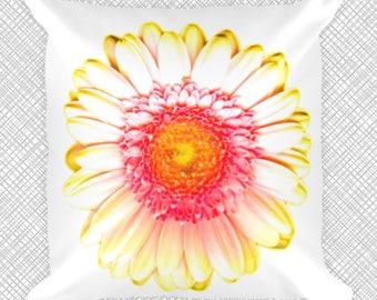 Modern Decorative Pillow - Tangerine Gerbera Daisy