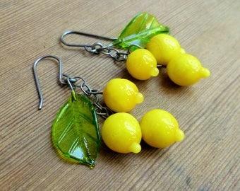 Lemon earrings, 40's 50's inspired lampwork fruit earrings, citrus earrings.