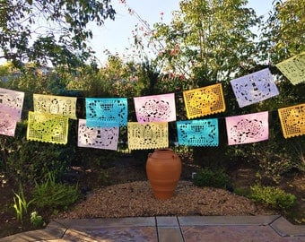 Mexican papel picado banner, pastel color bunting, cut tissue paper, fiesta party supplies, party decorations, destination wedding decor