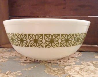 Vintage Pyrex Green Verde Square Flower 4qt Mixing Nesting Bowl #404