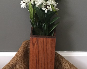 Vintage wooden wall pocket, wooden wall vase, farmhouse decor
