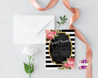 Black and White Striped - Pink Bridal Shower - Pink Roses - Floral Bridal Brunch Invitation - Printable Digital Invitation - BEST SELLER