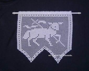 Handmade Pascal lamb crochet curtain. Creation made in france