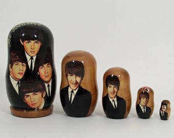 5pcs Russian Nesting Doll of the BEATLES #3657