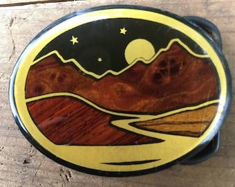 Vintage Brass Belt Buckle Colorado Mountains Wood Inlay Western Belt Buckle
