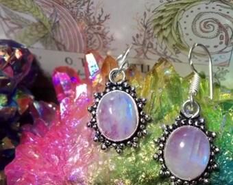 925 Stamped Pink Rainbow Moonstone Earrings