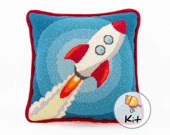 "Needlepoint kit, Rocket tapestry wool kit, needlepoint for child's room, beginner needlepoint, printed canvas, needlework stitching, 12""x12"""