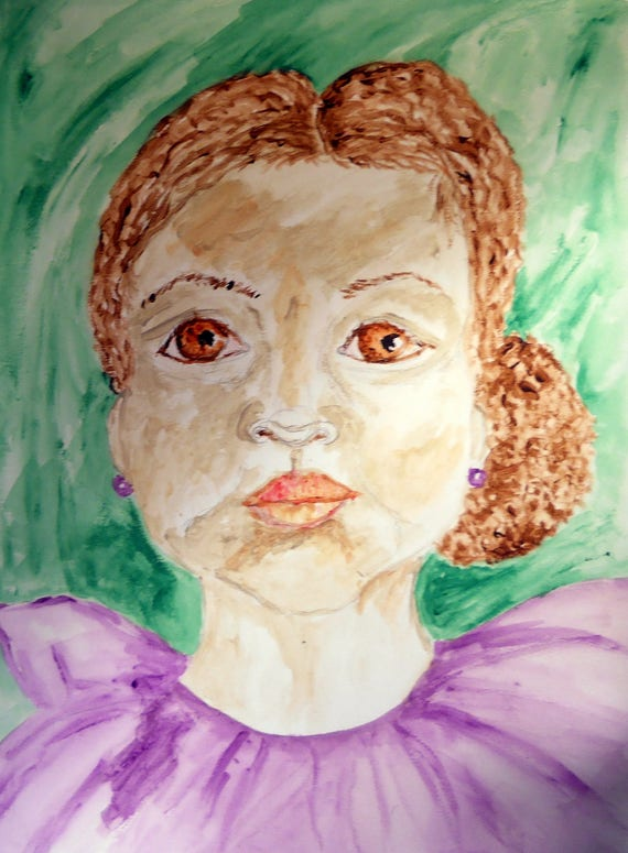 """Watercolor Painting """"SWEET PETUNIA"""" Portrait of a young girl with amber eyes, 15 x 11"""" by Indiana Folk Artist Stacey Torres 2015"""