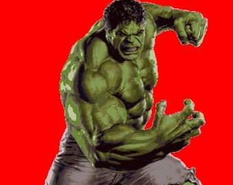 "ON SALE Counted Cross Stitch Pattern - Hulk by Marvel - 25.57"" x 36.00"" - L161"