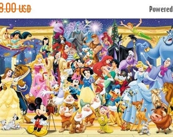 """ON SALE Counted Cross Stitch - Disney panoramic - 35.43"""" x 13.50"""" - L681"""