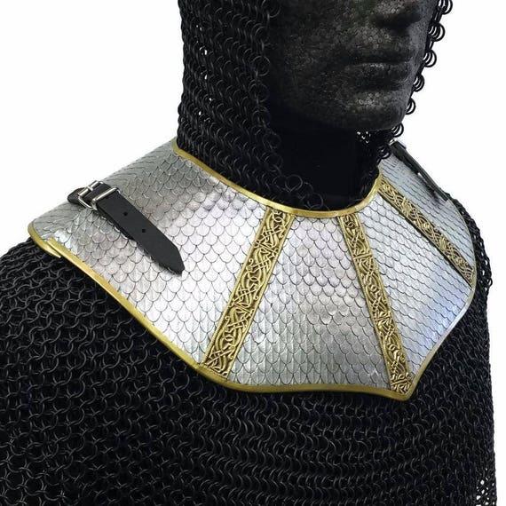 Larp Armor, Wyrmwick Scaled Gorget, cosplay armor, elven armor, neck armor