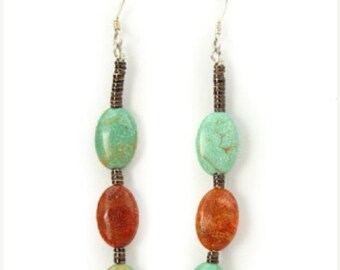 Turquoise Coral Pipestone Dangle Santo Domingo Earrings