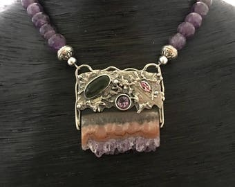 Amethyst Druzy Pendant, Amethyst Necklace, Gift for her, Anniversary Gift