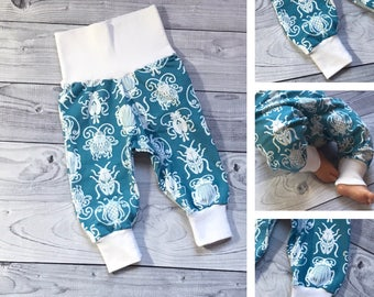 MADE TO ORDER - Baby Boy Pants - Baby Girl Pants, Blue Baby Pants - Bug Baby Pants - Beetles Baby Pants - Baby Girl - Baby Boy - Baby Shower