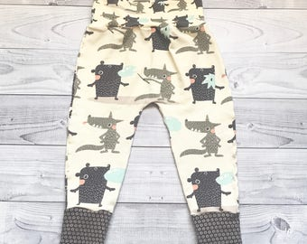 Baby Pants - Vanilla Baby Clothes - Wolf Baby Pants - Wolf Baby Clothes - Baby Shower Gift - Baby Boy Clothes - Baby Girl Clothes